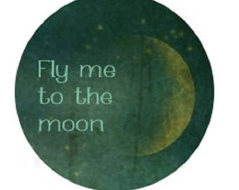 """25mm cabochon """"fly to the moon"""""""
