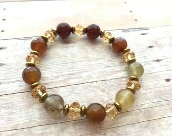 Crystals and Gemstones Agate Hematite Bracelet