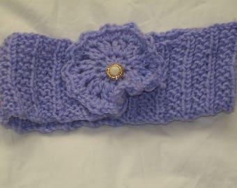 Ladies Hand Knit Lilac Headband/Earwarmer with Lilac Flower Decoration - New