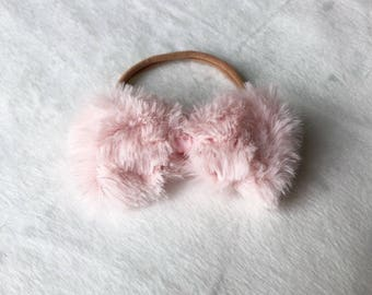 Faux Fur Bow in Blush