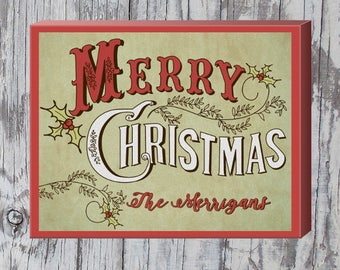 "Vintage Merry Christmas Sign | Family Christmas Sign | Winter Decor | Customized Christmas Gift | 11"" x 14"" Wrapped Canvas"