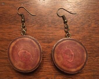 Rustic Cherry Tree Wooden Earrings, Wood Cookie Earrings, Boho Earrings, Wood Slice Earrings