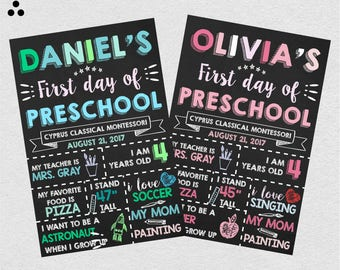 First Day of Preschool, Boy Sign, Girly Sign, First Day of School, Boy, Girl, First Grade Sign, School Sign, for Boys, Digital, 3DS-020
