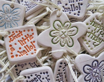 5 Ceramic Gift Tags Handmade in Derbyshire