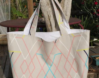 Reversible tote bag / graphic line