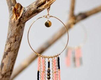 Coral hoop earrings / gold plated
