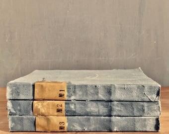 Vintage linen journal 3 in a set
