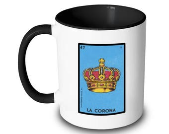 La Corona Mug Crown Loteria Card Mexican Bingo