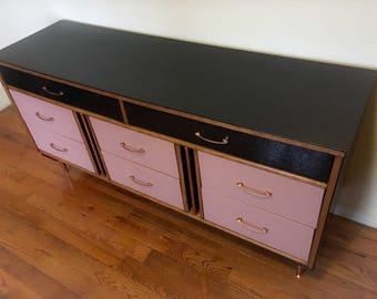 Mid Century 8 drawer dresser with Copper detail