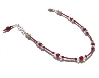 Garnet Crystal Beaded Ankle Bracelet 10
