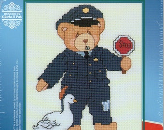 Cherished Teddies Occupation Series I Police Officer Counted Cross Stitch Kit