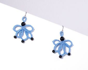 Lace blue lotus earrings