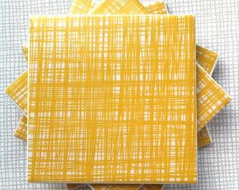 Handmade Set Of 4 Ceramic Coasters Orla Kiely Mustard Yellow Drinks Mats Mugs Home Decor Housewarming Gift Christmas Present Scribble Stem