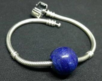 Lapis lazuli 1 piece Large Hole Bead 16 mm round shape - natural gemstone!