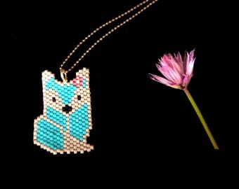Blue Wolf Bead Necklace