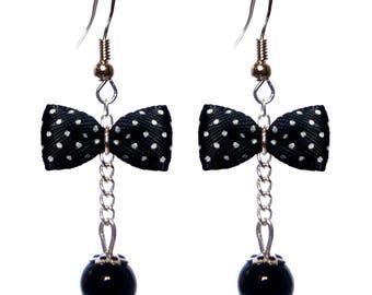 Lady pin up earrings polka dot bow
