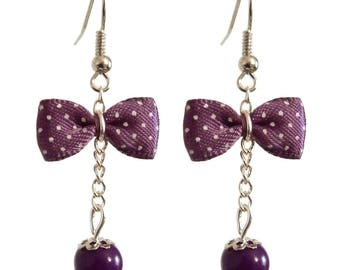 Vintage purple bowtie with small white dots inspired earrings