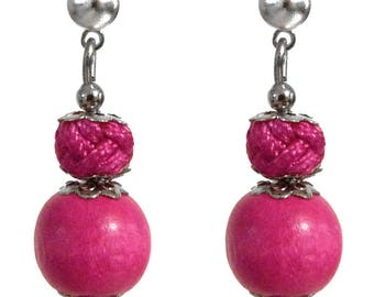 Small stud earring Pearl wood and satin cord pink bright silver setting