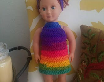 "18"" Doll Rainbow Halter Dress"