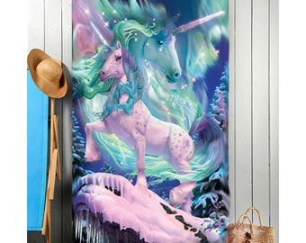 Aurora Unicorn beach towel, children's bath towel, beach towels for children