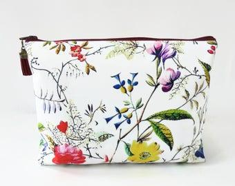 Gifts for her, Canvas Wash bag, Botanical print, Dumpy bag, cosmetic bag, zip bag, make up bag.