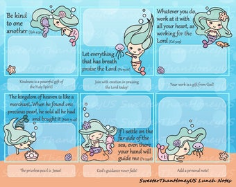 Bible Verse Lunch Notes Mermaids - Mermaids Lunch Notes - Lunchbox Spiritual Nutrition