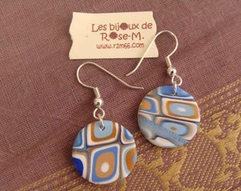 "Earrings style ""Klimt"" blue and white"