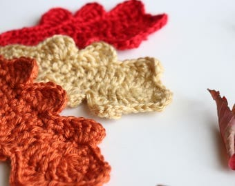 Thanksgiving Table Decoration,  Thanksgiving Decor, Fall Leaves,  Set of 4 Crochet Oak Leaves, Fall Decoration, Leaf Decorations