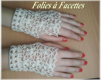 Ivory cotton crochet flowers lace fingerless gloves