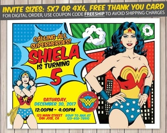 Wonder Woman Invitation, Wonder Woman Birthday, Wonder Woman Birthday Invitation, Wonder Woman Party, Wonder Woman Invite, Printable