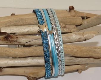 """""""Glitter turquoise and stars"""" Cuff Bracelet leather, glitter, studded Suede, color turquoise blue and silver"""