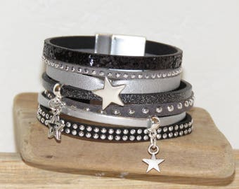 "Leather, suede and leather Cuff Bracelet sequins, black, dark gray and silver color ""and rock star"" with"