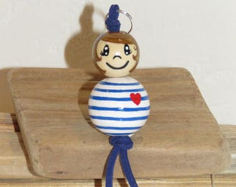 "Key holder bag accessory - sailor man - ""smile ball"" with wooden beads completely customizable and hand painted figurine"