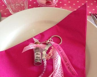 Keychain - bag charm - thank you wedding, birthday, baptism - ribbons with customizable glitter vial