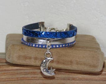 Cuff Bracelet little girl, blue, silver, glitter, studded, suede leather Moon and stars