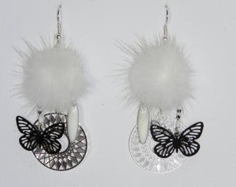 "Tassel earrings white fur, prints, Sun, butterflies, charms, ""earrings Poumpoumpidou"" Pimprenellecreations"