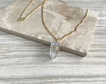 Gold Chain Blue Crystal Necklace