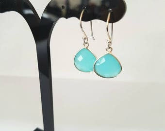 HEART - silver hooks with a chalcedony gemstone aqua blue earrings