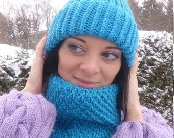 Winter Set, Scarf And Hat Set, Knit Hat, Knit Cowl, Women Hat, Hand Knit Hat, Beanie Cowl 2 in 1, Wool Cowl, Hat And Snood, Knit Accessories