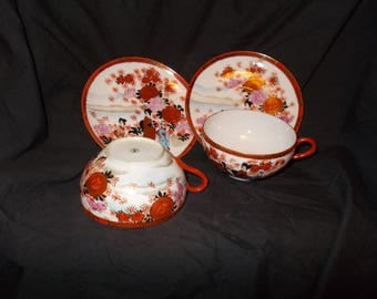 Oriental/Japanese Teacups and Saucers Set of 2