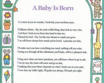 "A Baby is Born 8.5"" X 11"" Acrostic Poem Print"