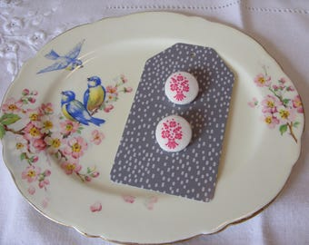 Fabric Covered Buttons x 2