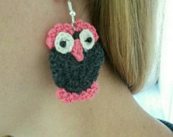 Handmade / crocheted OWL earrings