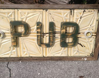 PUB lighted sign antique ceiling tin