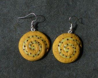 Bread Fimo 925 sterling silver grape earrings