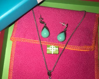 Green Turquoise & Tibetan Silver Necklace and Earrings Set