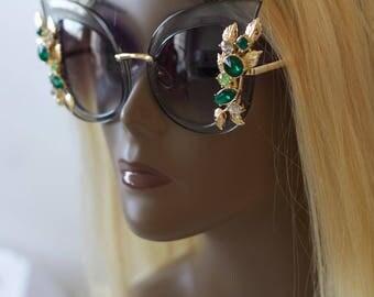 vintage sunglasses - oversize 1980s sunglasses- Custom women sunglasses- retro vintage cat eye rhinestone sunglasses