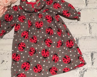 Girls Dress, Girls Ladybird Fleece Dress , Girls Winter Dress, Toddler Dress, Ladybug Dress, Handmade Dress ,Custom Made