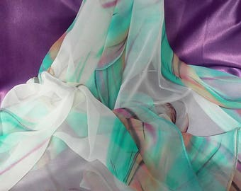 Abstract Watercolor Chiffon Scarf Beige Chiffon Scarf Pastel Watercolor Scarf Polyester Printed Scarves Shawl Green Watercolor Scarf Hijab