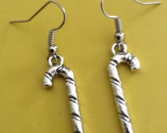 Silver candy cane earrings
